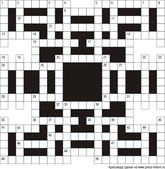 Классический кроссворд В2  21x21 клеток (~126x126 мм.), пустой блок 5х5