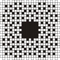 Классический кроссворд  25x25 клеток (~150x150 мм.), пустой блок 7х7