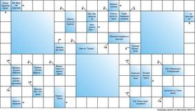 Сканворд тематический  10x18 клеток, тематика кино-тв, 3 пустых блока
