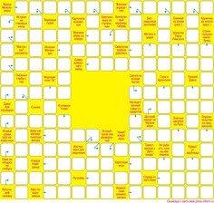 Сканворд  15x14 клеток (~180x168 мм.), пустой блок 4х4
